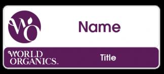 World Organics name badge