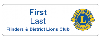 Flinders & District Lions Club name badge